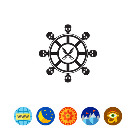 dinghy: Black illustration of steering wheel with skull elements and crossed pirate daggers. Ship, adventure, fun. Pirates concept. Can be used for topics like transport, history, fiction. Illustration