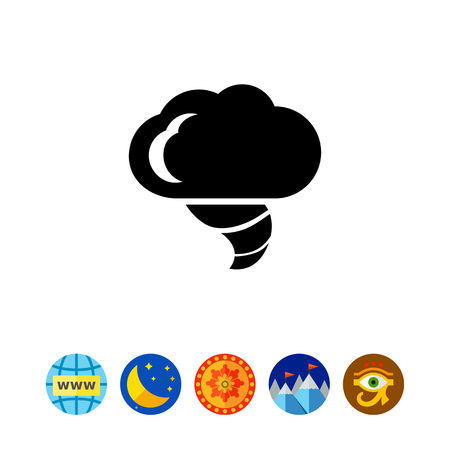 overcast: Icon of cloud and hurricane funnel