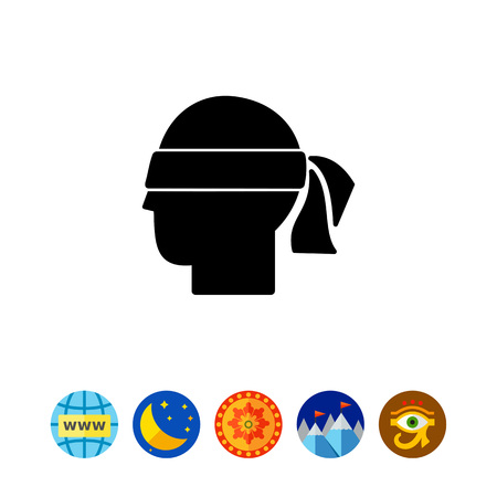 black man thinking: Head with blindfold. Hunch, intuition, premonition, suspicion. Hunch concept. Can be used for topics like communication, psychology, personality