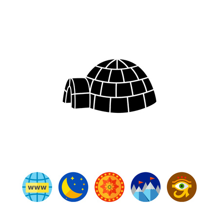 Vector icon of igloo, spherical Eskimo snow house