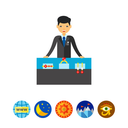 Jewelry Store with Assistant and Counter Icon