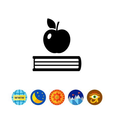 Livre et pomme. Étude, la lecture, l'information. concept de connaissances. Peut être utilisé pour des sujets tels que l'éducation, l'enseignement, la formation. Vecteurs