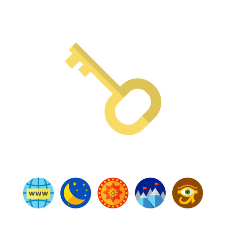 lodgings: Icon of door key in circle