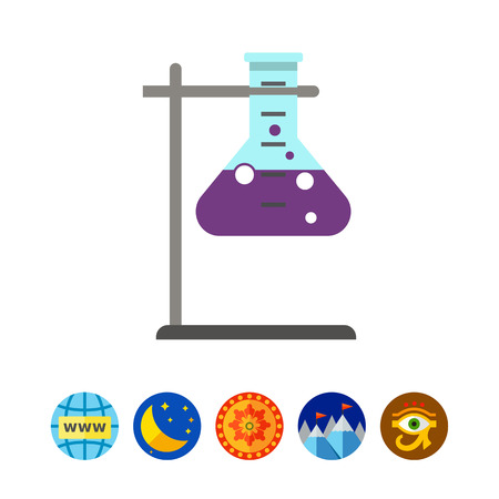 Icon of chemical laboratory flask with bubbling liquid in holder Çizim