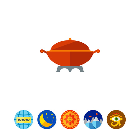 stewing: Multicolored vector icon of large cooking pot with handles and cover