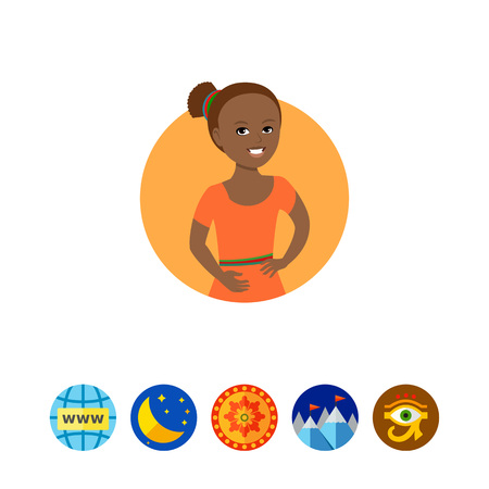 youngster: Female character, portrait of smiling African American girl Illustration