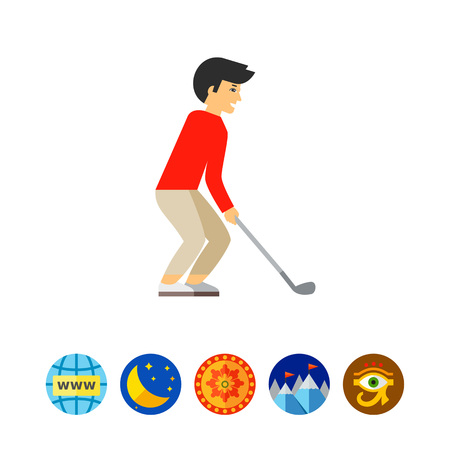 sports application: Golf player holding club. Putting, leisure, competition. Golf concept. Can be used for topics like golf, sport, games.