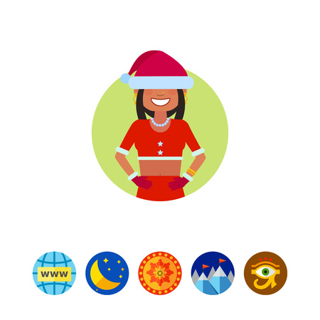 Female character, portrait of Indian teenage girl in Santa costume with hat on her eyes