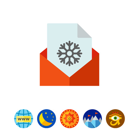 Multicolored vector icon of paper sheet with snowflake in red envelope Illustration