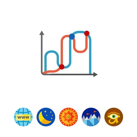 uptrend: Icon of two line graphs Illustration