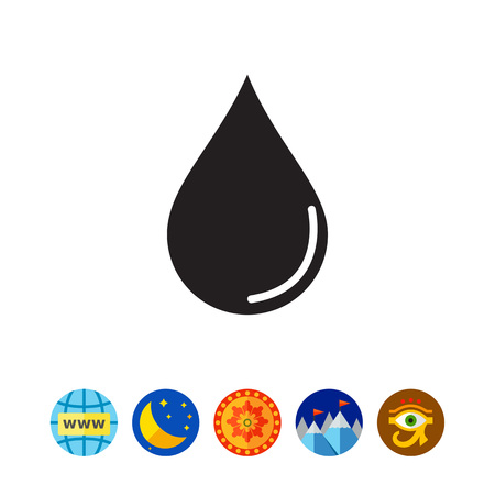 Vector icon of liquid drop with reflection