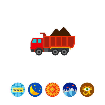 Multicolored vector icon of loaded dump truck