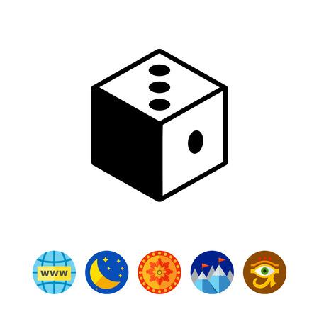 argumentation: Monochrome vector icon of 3d dice representing logic concept