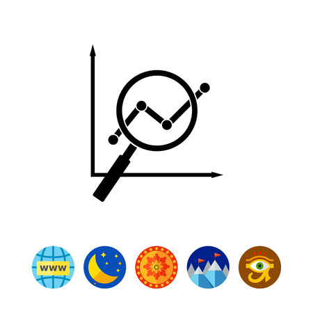 finding: Loupe Showing Graph as SEO Concept Icon Illustration