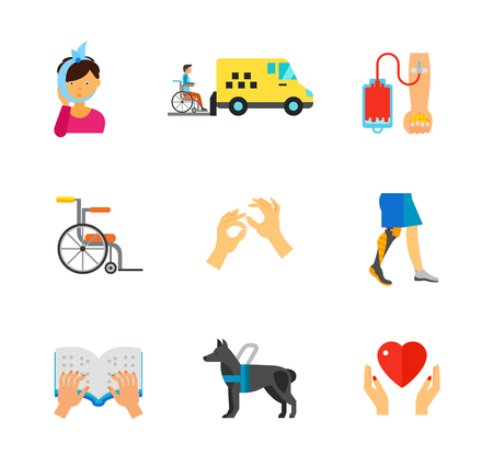 Disabled people icon set Illustration