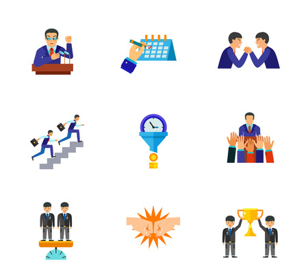 raise: Business icon set. Election Campaign Calendar Arm-wrestling Career Ladder Time Is Money Voting For Candidate Equal Businessmen Fist Bump Teamwork Cup