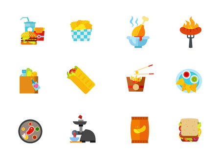 calorie: Fast food icon set