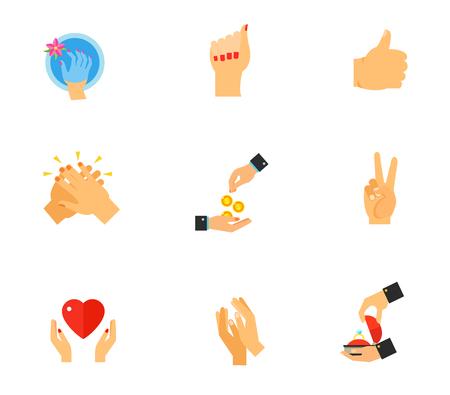 liking: Hands icon set Illustration