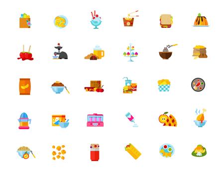 Speisen und Getränke Icon-Set Vektorgrafik