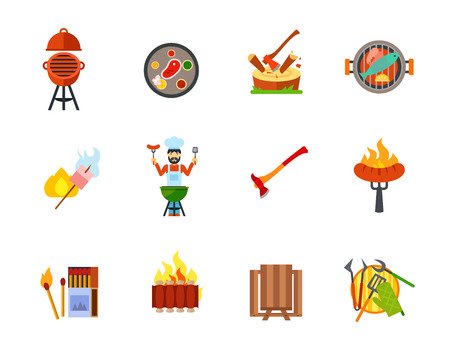 pincers: Outdoor party icon set Illustration