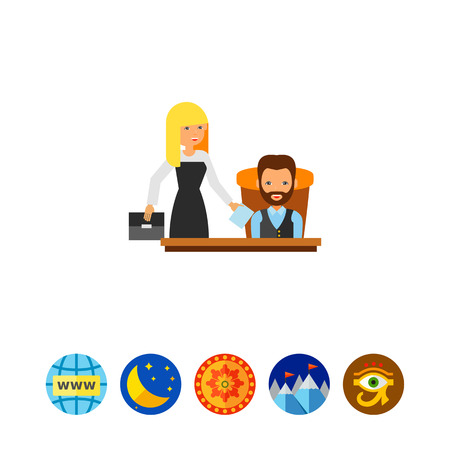 chief executive officer: Director with Assistant Icon Illustration