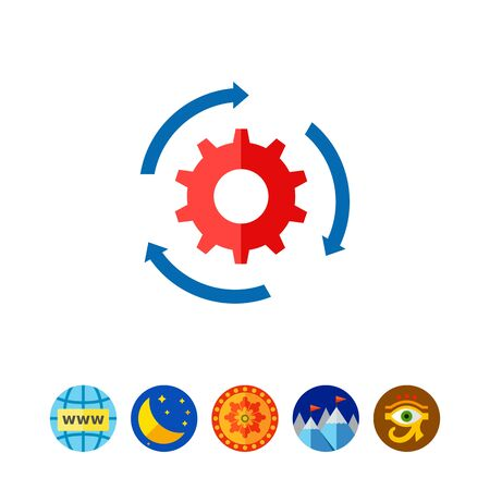 streamlining: Gear and Arrows as Workflow Concept Icon