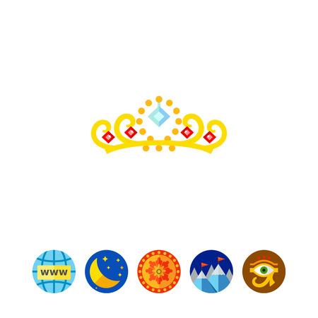 diamond stones: Gold Crown with Gemstones Icon Illustration