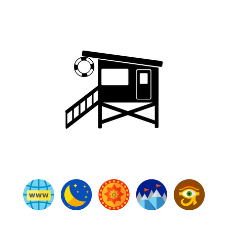 rescuing: Lifeguard Tower on Beach Icon Illustration