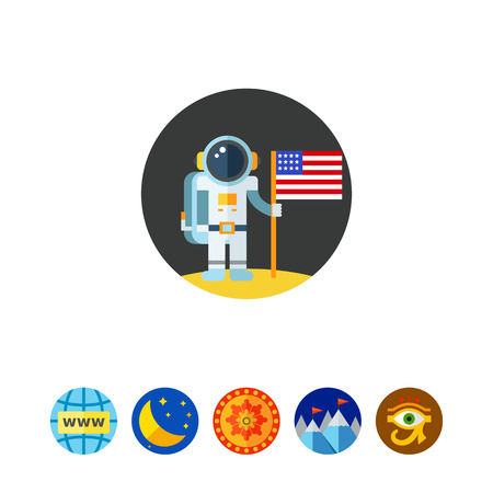 outer clothing: Man on Moon with USA Flag Icon