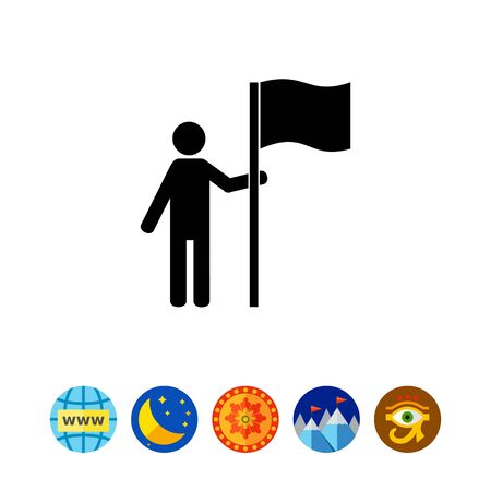 sports application: Man standing by big flag. Achievement, success, results. Destination point concept. Can be used for topics like business, management, sport.