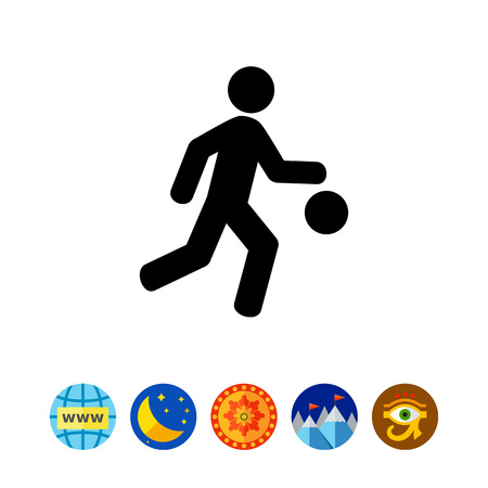 running: Male silhouette with ball. Basketball, game, basketball player, sport. Basketball concept. Can be used for topics like sport games, sport, leisure activities