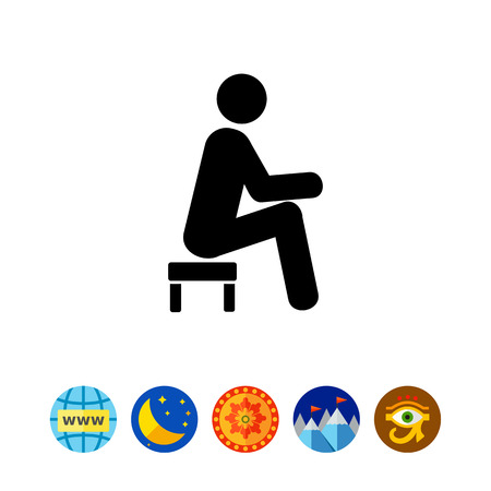 exhausting: Man Sitting on Small Stool Icon Illustration