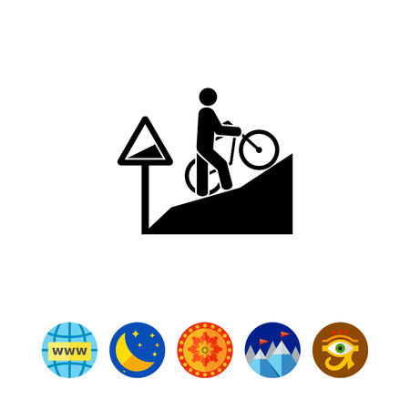 uphill: Man Walking Uphill with Bicycle Icon