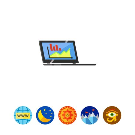 review: Monitoring Using Laptop Icon Illustration