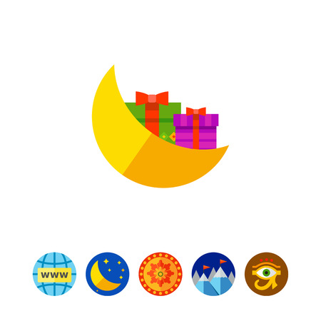 asleep: Moon and Gifts Vector Icon Illustration