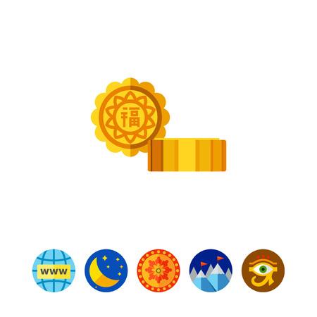 Mooncake Vector Icon Illustration