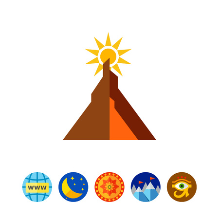 山と太陽  イラスト・ベクター素材