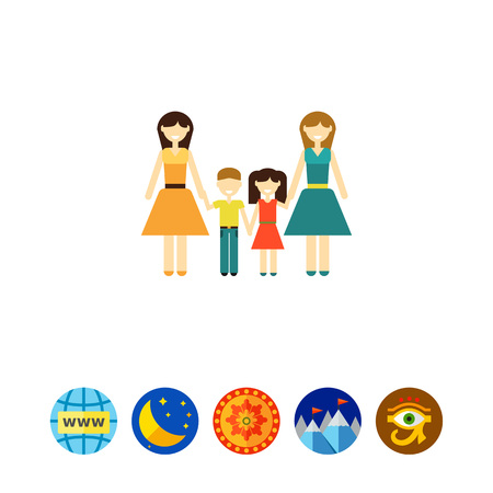 nontraditional: Non-traditional family with children Illustration