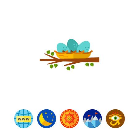 tree isolated: Nest Flat Icon