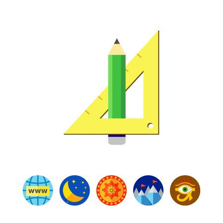 Pencil and set square Illustration