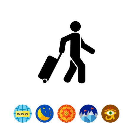 rolling bag: Passenger Pulling Rolling Bag Icon