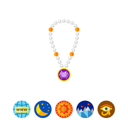 gemstone: Pearl Necklace with Pendant Icon Illustration