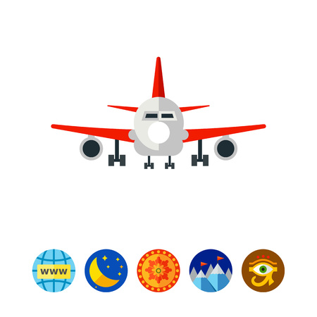 high speed internet: Plane Front View Icon Illustration