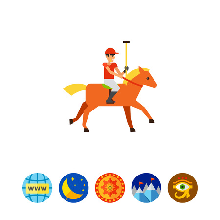 Polo Sport Player Icon Illustration