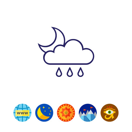 Icon of cloud with raindrops and crescent moon Illustration