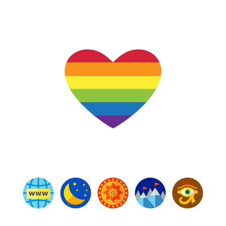 tolerancia: Vector icon of rainbow heart, lgbt community sign