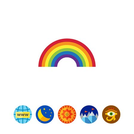 rainbow sky: Vector icon of rainbow curve consisting of six colors
