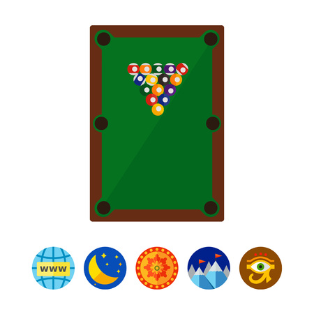 sports application: Pyramid of Balls on Billiard Table Icon Illustration