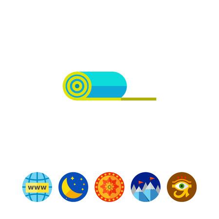 pastime: Rolled Yoga Mat Icon Illustration