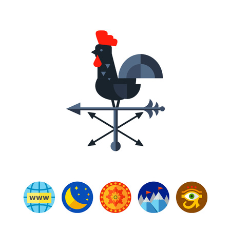 weathercock: Rooster Wind Vane Icon